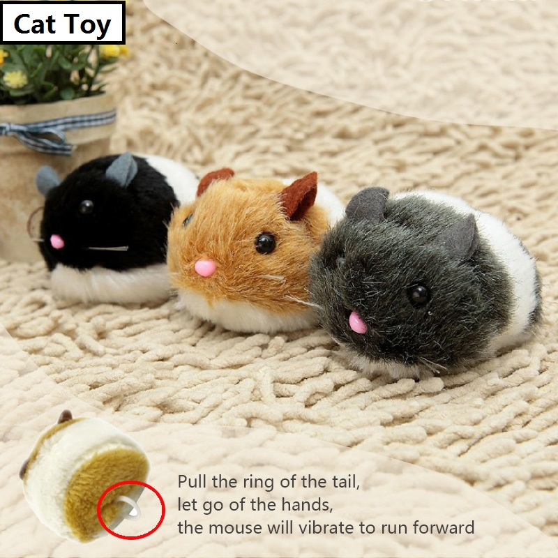 Cats Toy Cat Supplies Artificial Mouse Pet Products Pulling Tail Ring Vibrate Run Forward Shock Shake Interactive