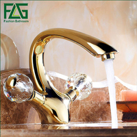 Comteporary Style Dual Handle Basin Vanity Sink Vessel Bathroom Faucet Mixer Tap Gold Finished