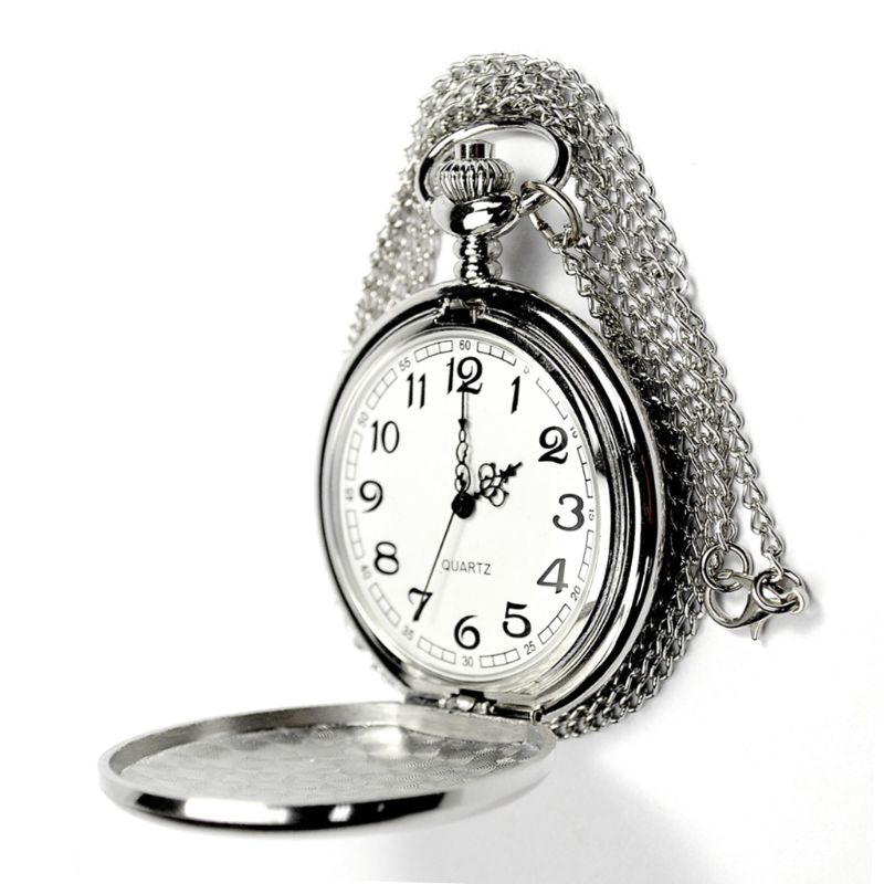 Pocket Watch Silver Quartz Watches Women Chain Pendant Collar Jewelry Simple Fashion Creative Charm Gifts Vintage Mini Size
