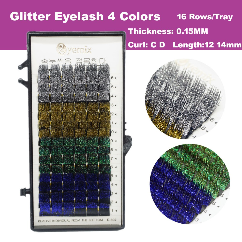 Beauty Essentials Beauty & Health Free Shipping Glitter Eyelash Extension 4 Colors 12mm 14mm New Professional Individual Eyelash Extension