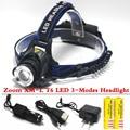 SZ60 4000 lumen Zoom Caça Pesca Farol XM-L T6 LED 3-modos Zoom Farol Uso a 18650 Carregador de Bateria USB