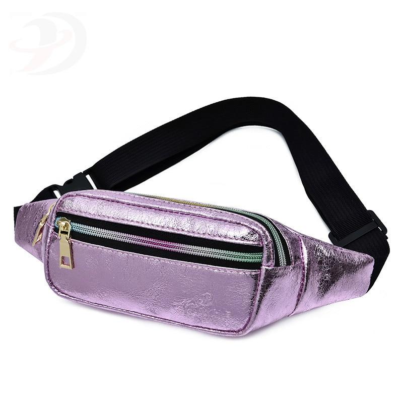 Women Pockets Shoulder Slant Waist NEW FASHION Outdoor Zipper PU Leather Messenger Fanny Pack Sport Chest Waist Bag