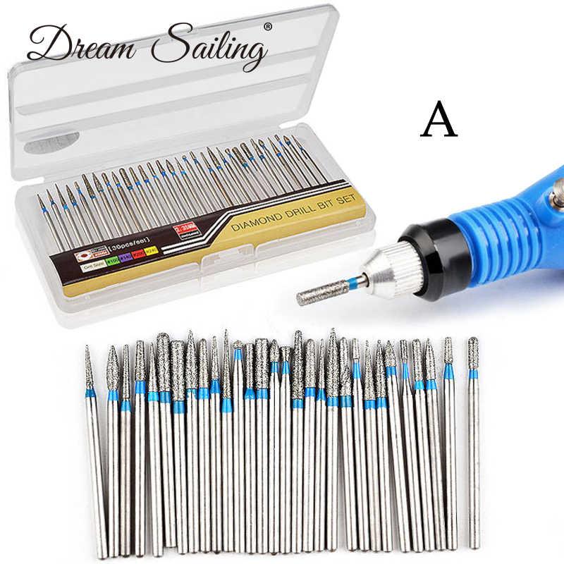 30 pz/set di Nail Drill Bits Acciaio di Tungsteno Unghie artistiche Strumento per Manicure Elettrico Drill Macchina A Punta Del Chiodo Accessori di Fresatura