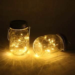 Image 2 - Solar powered Mason Jar Lights (Mason Jar & Handle Included),10 Bulbs Warn White Jar Hanging Light,Garden Outdoor Solar Lanterns