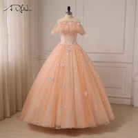 ADLN Romantic Evening Dresses Short Sleeves Boat Neck Ball Gown Tulle Flowers Evening Gowns Women Formal Dresses Lace up Back