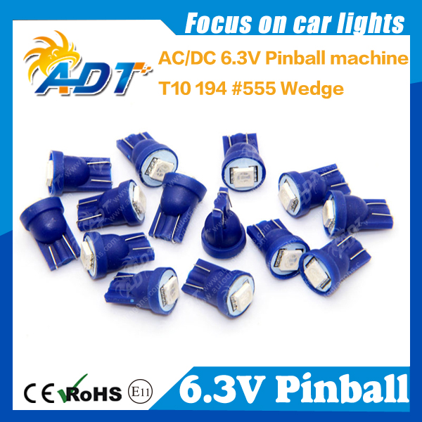 100pieces AC6V car LED Bulbs ,T10 194 w5w #555 1 SMD LED AC6.3V non ghosting pinball game led