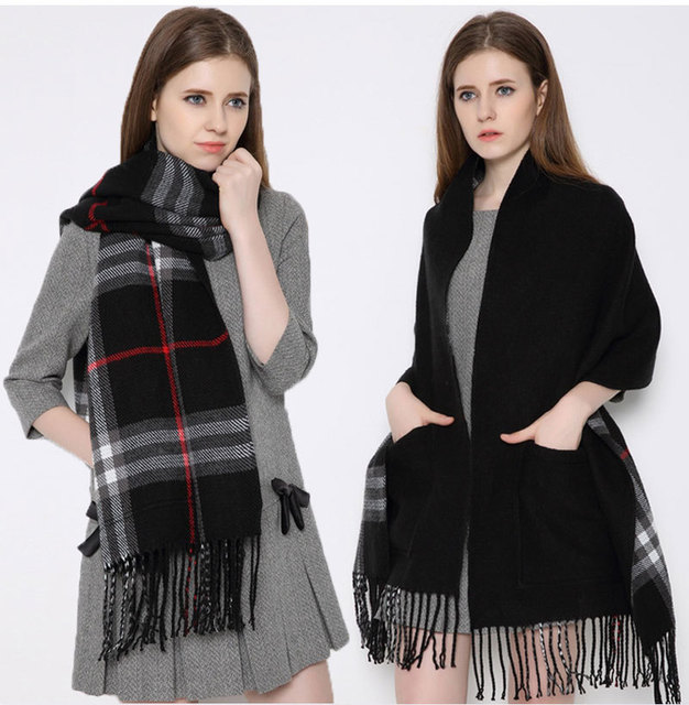 2015 Fashion New Womens Winter Genuine Camel Cashmere Wool Plaids Scarf Shawl Pashmina Wraps with Pockets Double side double use
