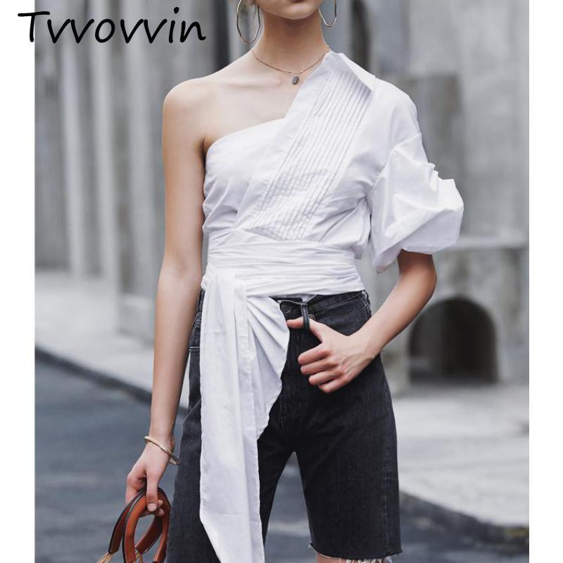 Femmes chemise irrégulière pansement col rond manches bouffantes coton femmes hauts et chemisiers blanc coton Vintage chemisier court V997