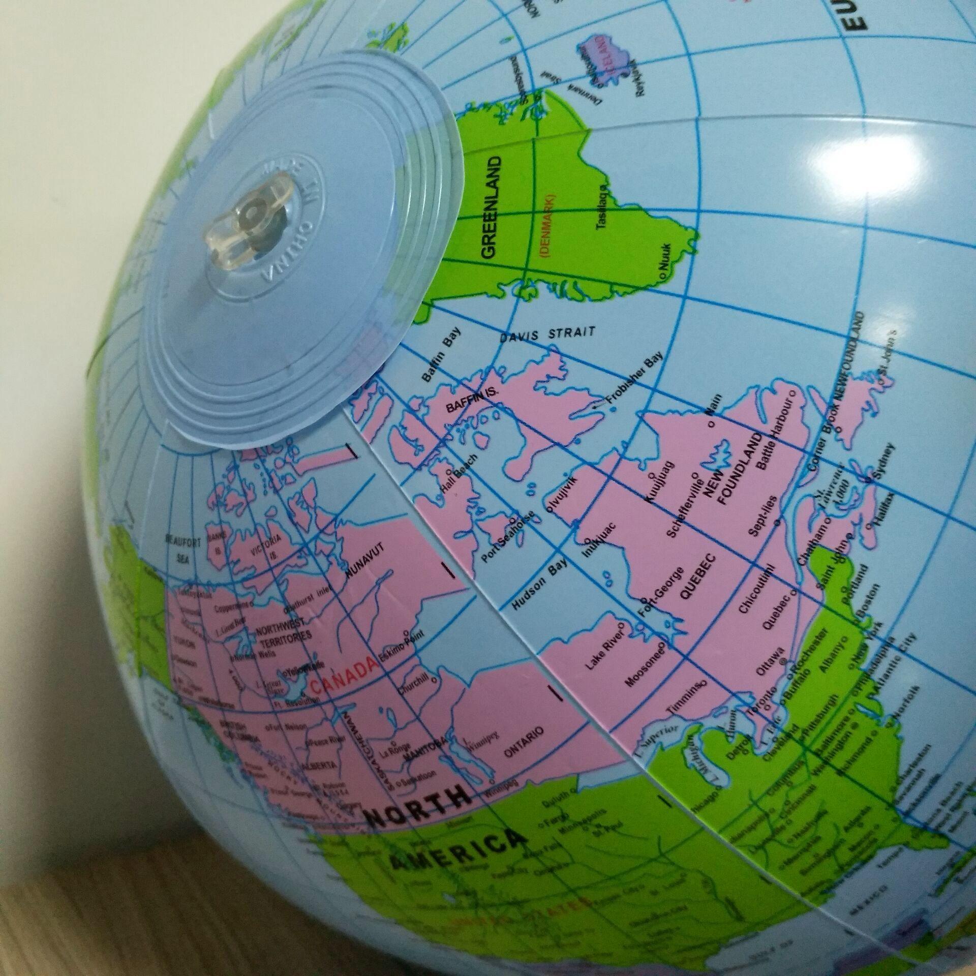Надувной глобус, 16 дюймов, карта, мяч для обучения в области географии, обучающий, мир, земля, океан, пляжный мяч, детские развивающие принадлежности для географии