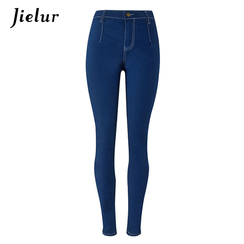2017 Spring Popular Candy Color High Waist Jeans Woman Slim Stretch Pencil Pants Summer Street Fashion Jeans Women S-XXL 2017 new jeans women spring pants high waist thin slim elastic waist pencil pants fashion denim trousers 3 color plus size