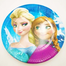 10pcs/lot 7Inch Kids Elsa and Anna Theme Party Plates cartoon decoration Children Boy Birthday/Festival  Supplies