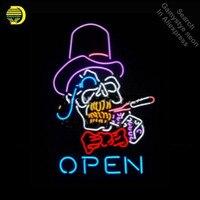 Супер яркий открытый знак дым череп коммерческие неоновые лампы Настоящая стеклянная трубка Пивной бар знак ручной работы дропшиппинг VD