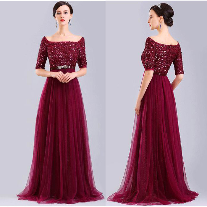 2015 Sexy Boat Neck Tulle Floor Length Long Sleeve Prom Dresses With