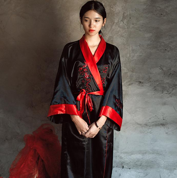 Novelty Reversible Black Red Women Kimono Yukata Satin Embroidery Dragon Nightgown One Size Robe Gown Two Side Sleepwear JA08