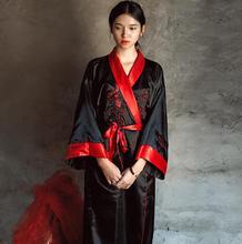 Novelty Reversibleสีดำสีแดงผู้หญิงKimono Yukataซาตินเย็บปักถักร้อยมังกรNightgownหนึ่งขนาดRobeชุดสองชุดนอนJA08