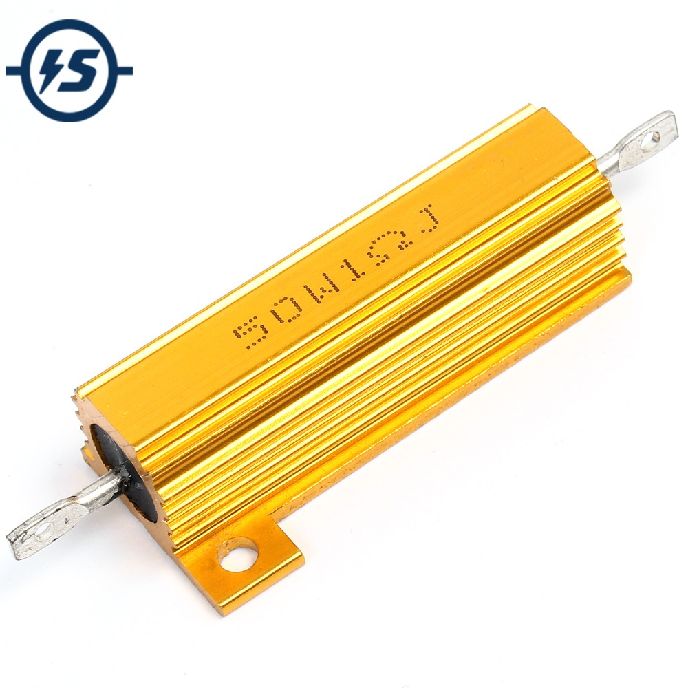 1 Ohm 100W Gold Aluminum Shell Resistance Aluminum Shell Case Wirewound Resistor