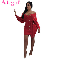 Adogirl Red Pearls Off Shoulder Bodycon Summer Dress Sexy V Neck Backless Long Sleeve Sashes Mini