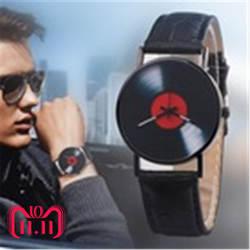 Фьюжн Для мужчин смотреть нейтральный часы Ретро дизайн бренда аналоговый Виниловая пластинка Для мужчин и Для женщин кварц сплава часы
