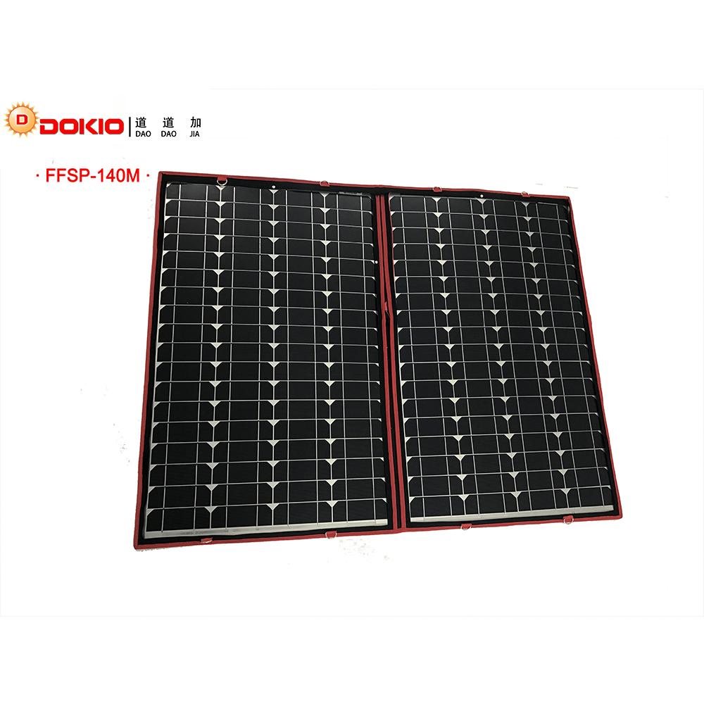 Dokio 100W 120W 140W 70Wx2Pcs 18V Flexible Black Solar Panels China Foldable 12 24V Volt Controller