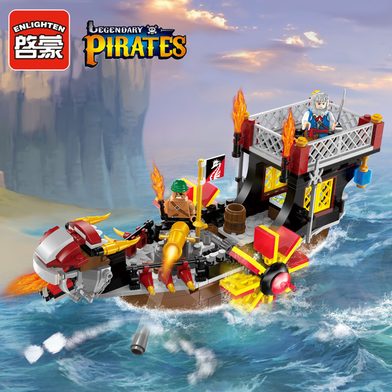 Enlighten 1307 Pirates Figures Corsair Boat Pirate Ship Son of the Sea Building Blocks Bricks For Children kazi 608pcs pirates armada flagship building blocks brinquedos caribbean warship sets the black pearl compatible with bricks