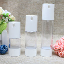 Mini White Plastic 15ml 30ml 50ml Small Empty Airless Bottle For Make Up And Skin Care Refillable Bottles 10pcs/lot