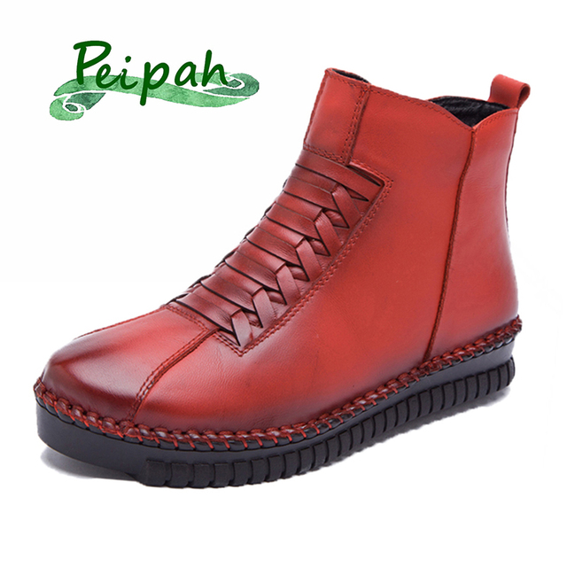 PEIPAH Handmade Autumn Winter Shoes Woman Genuine Leather Women Ankle Boots Solid Zip  Casual Snow Cow Leather Female Shoes