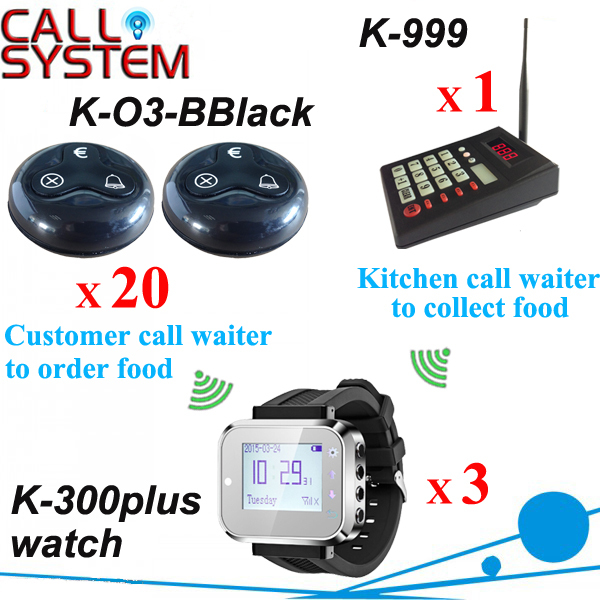 Kitchen equipment Restaurant Guest paging system 1 beyboard 3 wrist pager 20 bell euro button free shipping wireless service call bell system popular in restaurant ce passed 433 92mhz full equipment watch pager 1 watch 7 call button