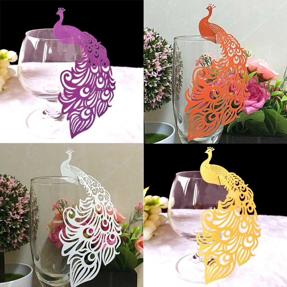 50/pcs Laser Cut Paper Place Card Escort Card Cup Card Wine Glass Card Wedding Decoration gifts wedding favors New Arrival 2018 image