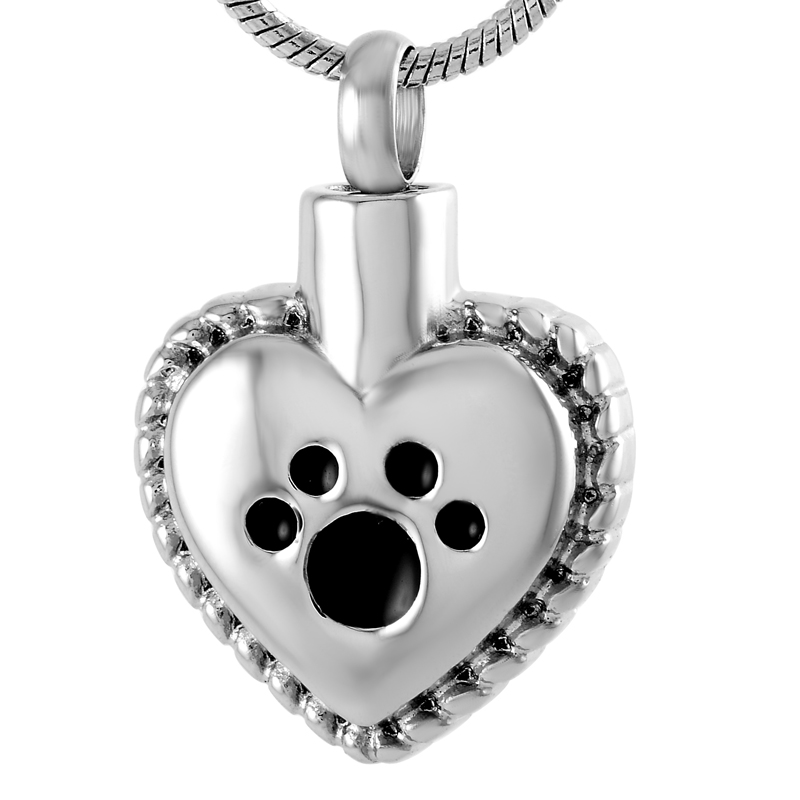 IJD8647 So;ver,Gold,Rose Gold,Black Paw Print Heart Urn Pendant for Pet Ashes,NEW Stainless Steel Keepsake Cremation Necklace