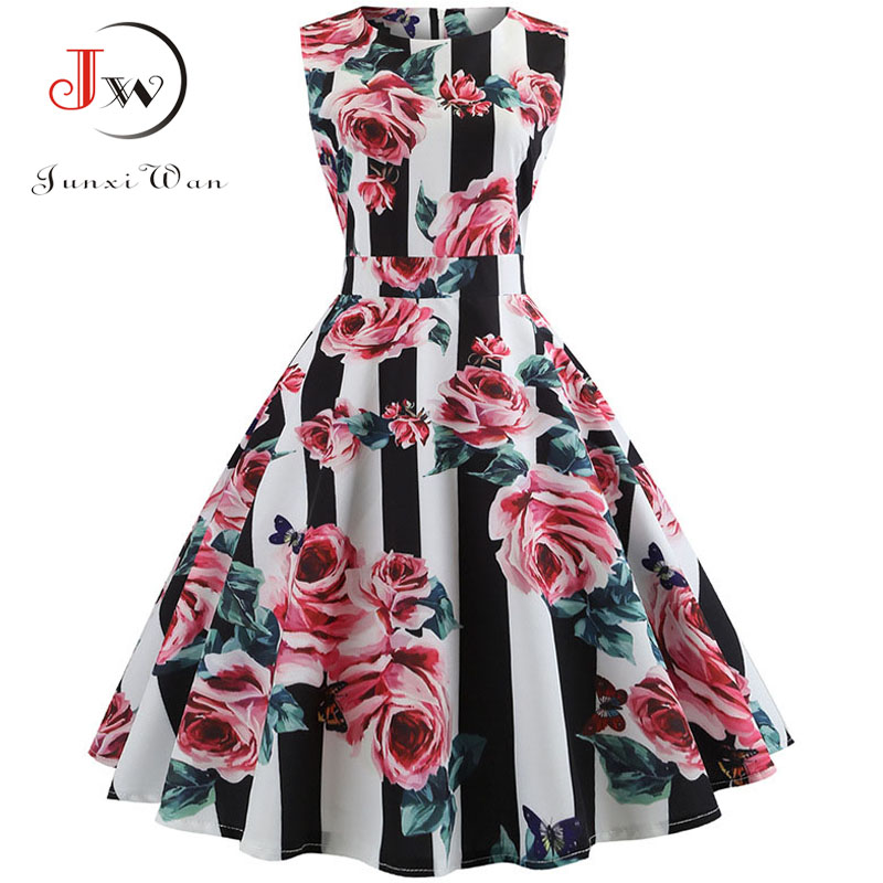 6e95fbdabb9a4 New Autumn Vintage Dresses Women Slim Sleeveless A Line Office Work Dress  Laides Elegant Party Dress Casual Floral Print Tunic