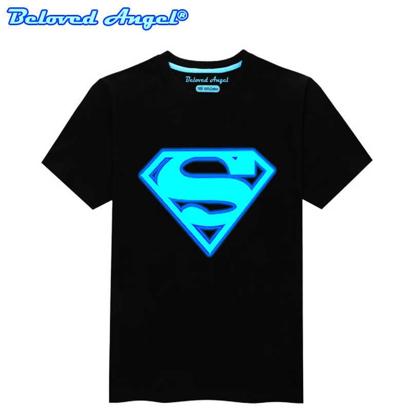 ילדי ילדה חולצה שנים Superhero זוהר בחושך ילדים הזוהר חולצה נערי קיץ קצר שרוולים חולצת טי פאנק רוק ירך הופ חולצות