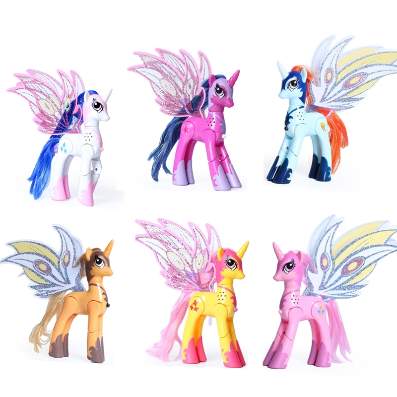 Lanyitoys Magic Rainbow ponies toys My little ponies action figure anime for children birthday Gifts 10inch Unicorn with music