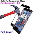 9 h vidro temperado protetor de tela para oneplus 3 cobertura completa colorful 3 T 5.5 de polegada Para OnePlus3 Para Um Mais 3 3 T de Proteção filme