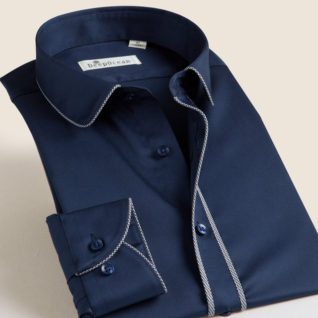 Small collar shirt male autumn commercial long-sleeve Men casual shirt mercerized cotton solid color men's formal