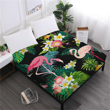Green Leaves Flowers Print Bed Sheet Flamingo Plant Painted Fitted Sheet Twin Full King Queen Mattress Cover Soft Bedclothes D35 цена