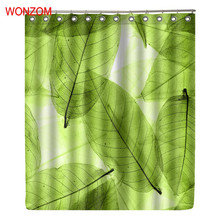 WONZOM Leaves Polyester Fabric Curtains For Bathroom Decor Modern Bath Waterproof Curtain with 12 Hooks New Accessories