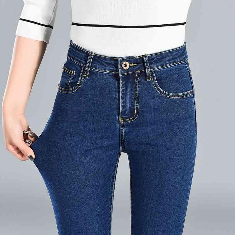 QBKDPU Large Size Jeans Women High Waist Elastic Pants Cotton Slim Pencil Pants Casual Trousers Pantalon Femme 3 Color Spring