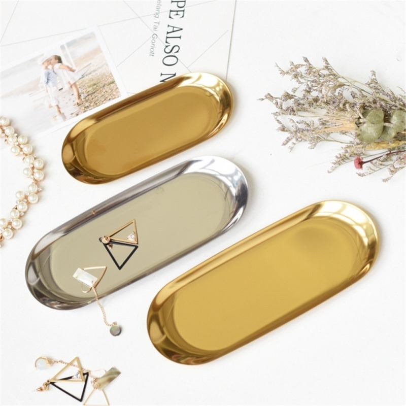 New 2019 Colorful Metal Storage Tray Gold Oval Dotted Fruit Plate Small Items Jewelry Display Tray Mirror-in Storage Trays from Home & Garden