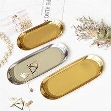 Nowy 2019 kolorowy metalowy taca złoty owalny kropkowany talerz na owoce małe przedmioty tacka na biżuterię lustro