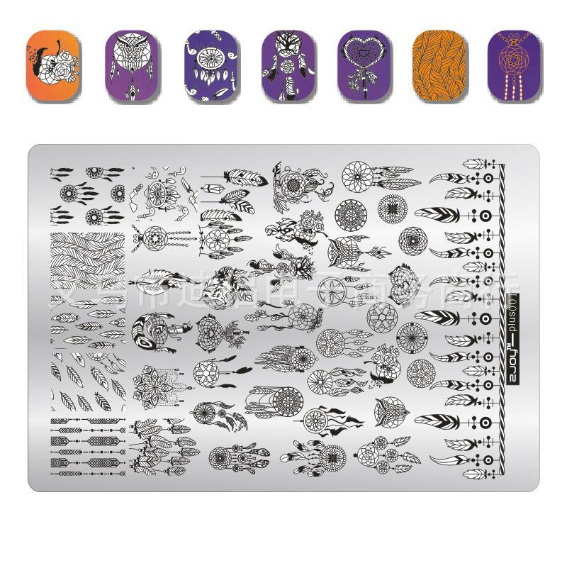 001 Zjoy Stamping Plates BIG Plus Size Punching For Stamping Dream Catch Stamp Plates 3D Stencil For Polish Nails stamp 1 Sheet in Nail Art Templates from Beauty Health
