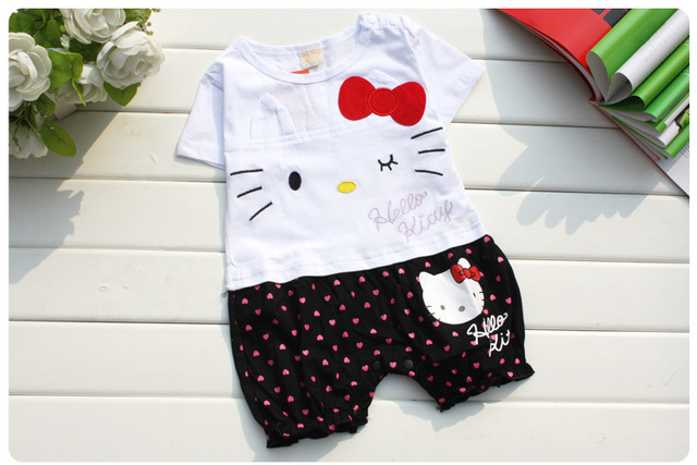 a44dd3309 Lovely Summer Baby Girls Hello Kitty Cotton Romper Infant Kids Girls  One-Piece Jumpsuits Clothes Free Shipping