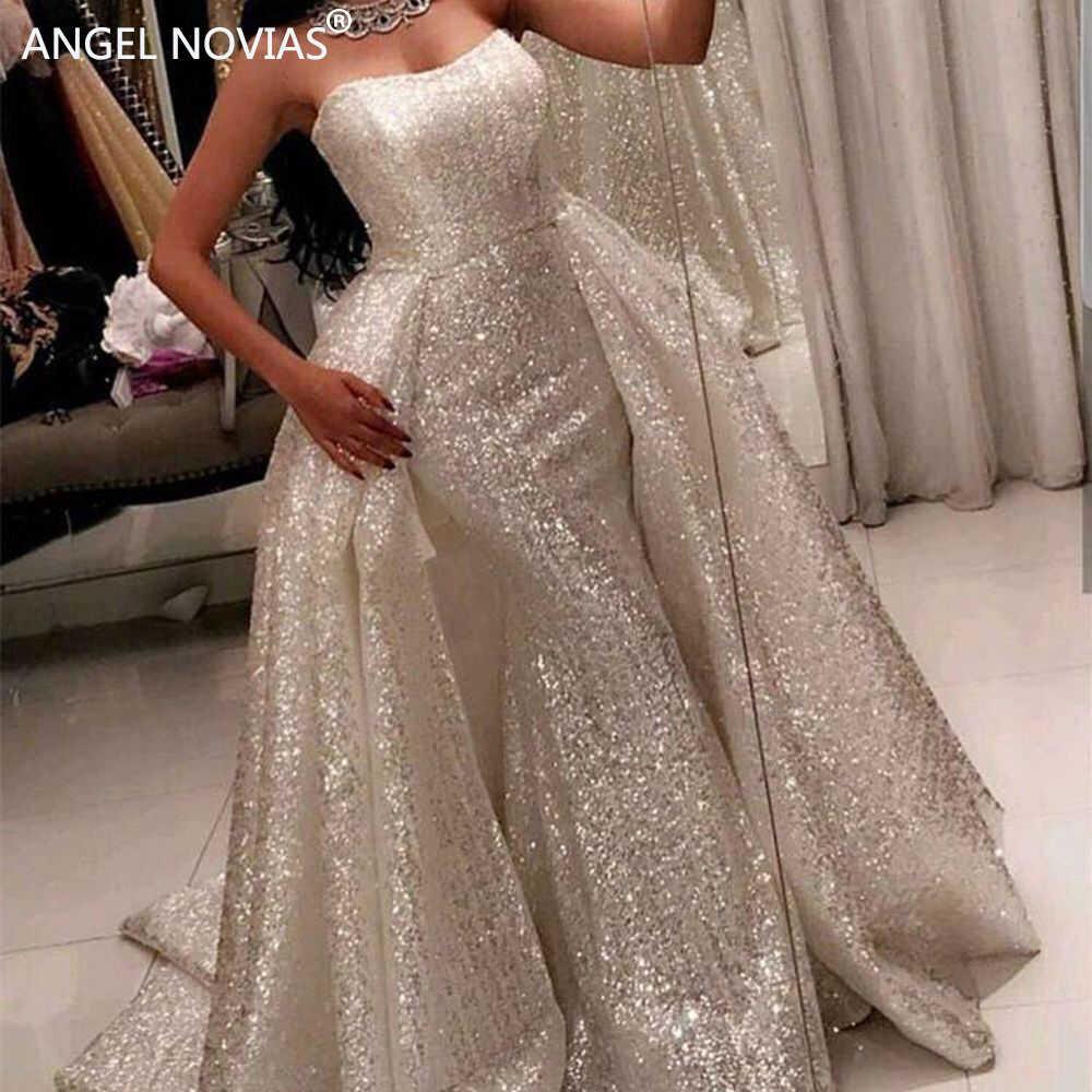 ANGEL NOVIAS длинное серебряное арабское вечернее платье русалки 2018 вечерние 2018 платья со съемной юбкой vestido sirena largo