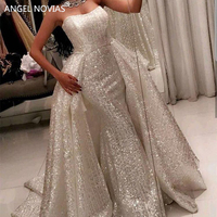 ANGEL NOVIAS Long Mermaid Silver Arabic Evening Dress 2018 Formal Gowns Party 2018 with Detachable Skirt vestido sirena largo