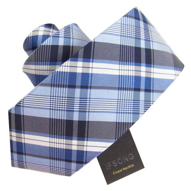Ifsong 8cm fashion plaid male formal tie 059