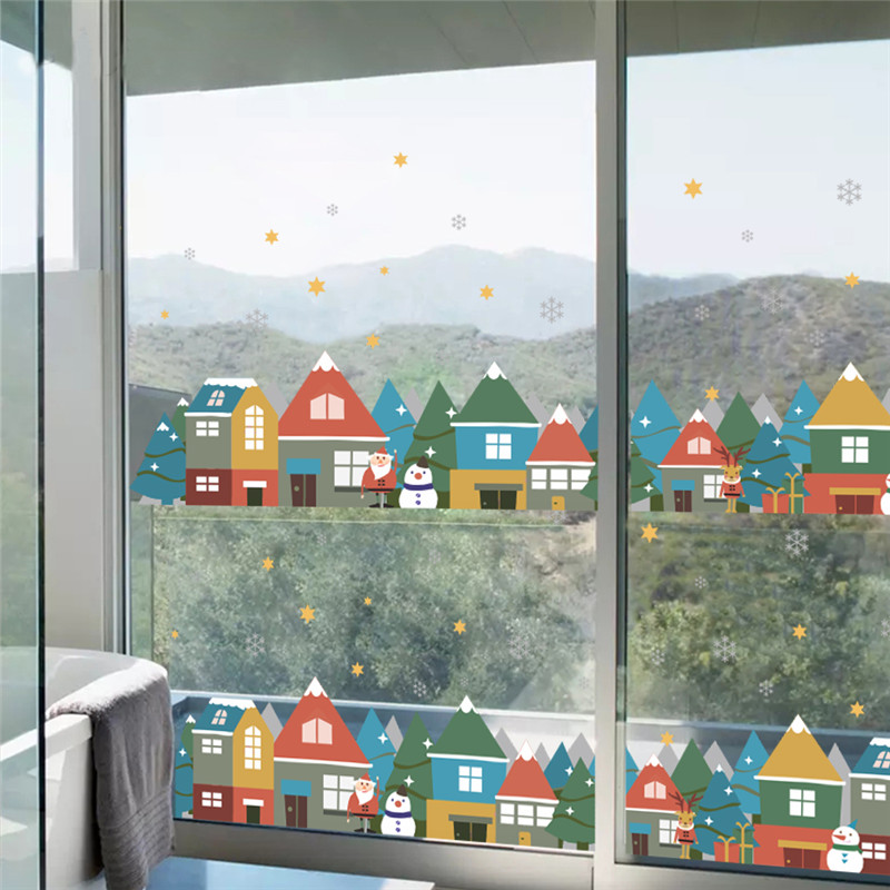 Christmas Winter Snow City House Wall Stickers For Kids Rooms Window Party Home Decor New Year Poster Wall Decals Pvc Mural Art