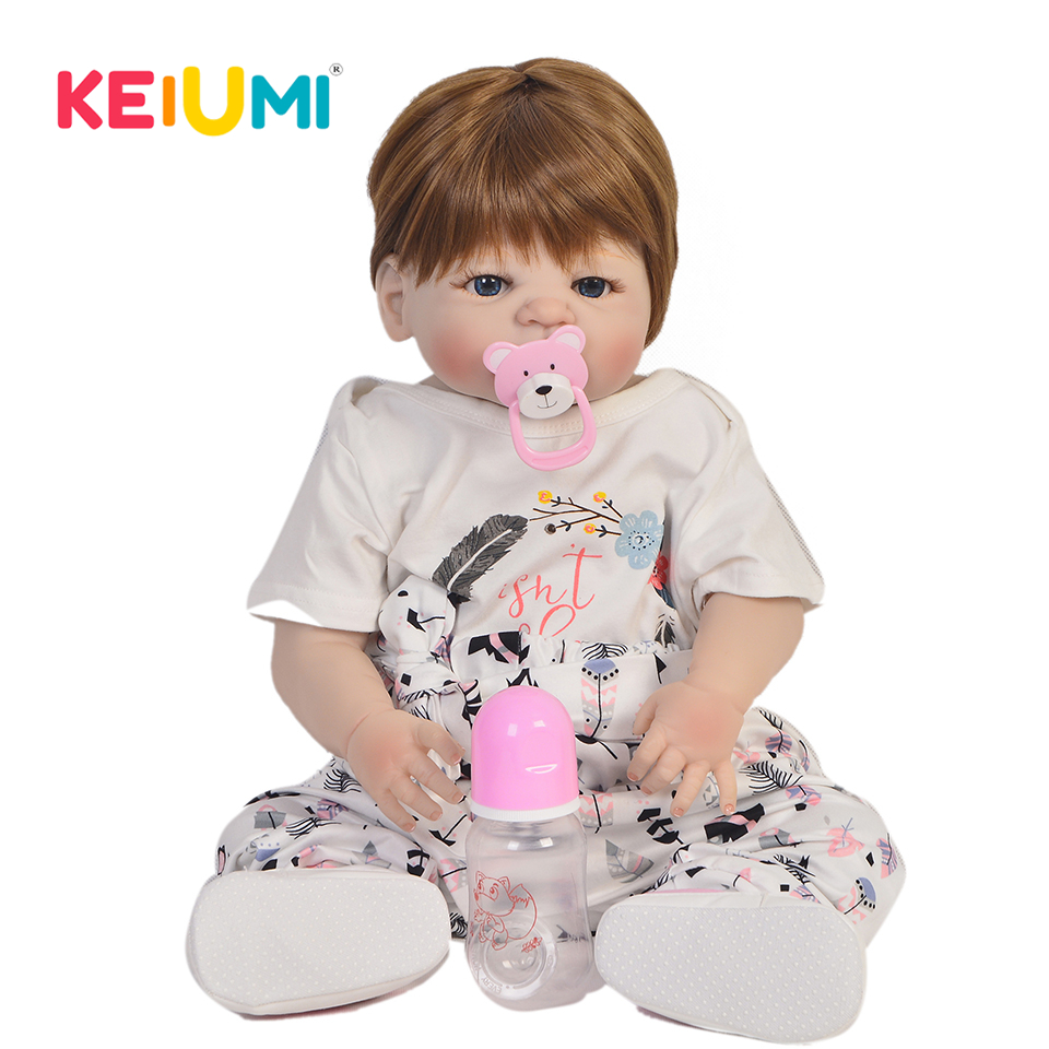 KEIUMI Fashion 23 Inch 57 cm Full Silicone Body Reborn Dolls Newborn Girl Lifelike Babies Doll Toy For Kids Christmas Gift-in Dolls from Toys & Hobbies    1