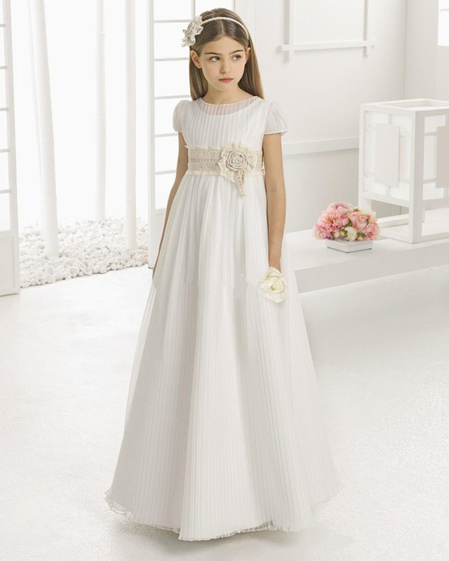 Vintage Flower Girl Dresses for Wedding Empire Waist Short Sleeve Tulle O Neck Children First Communion Dress Pageant Gown in Flower Girl Dresses from Weddings Events