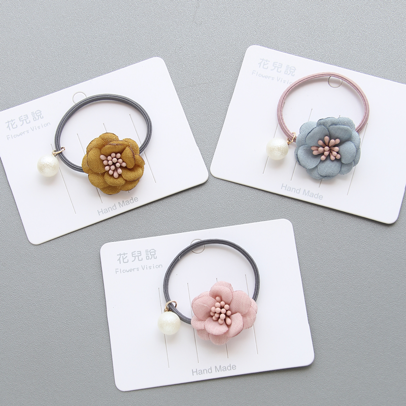 New Little Girls Cute Flower Elastic Hair Bands Kids Ponytail Holder Princess Rubber Bands Hair Accessories Hair Accessories
