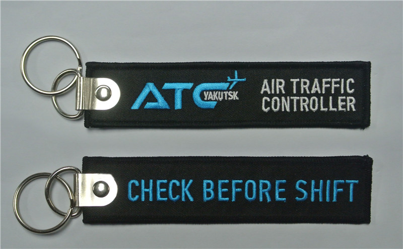 Check Before Shift ATR Air Traffic Controller Fabric Embroidery Keychain With Metal Ring