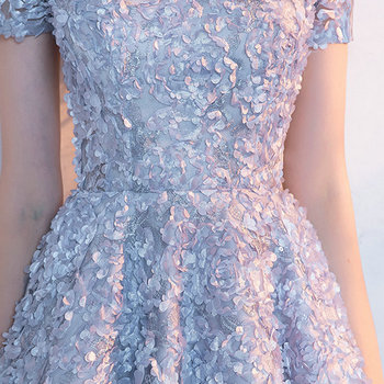 LAMYA Candy Color Appliques Prom Dresses Short Sleeve Evening Party Dress Knee Length A Line Formal Gown Zipper Robe De Soiree 5